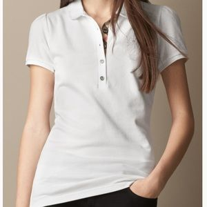 Authentic Burberry white polo shirt